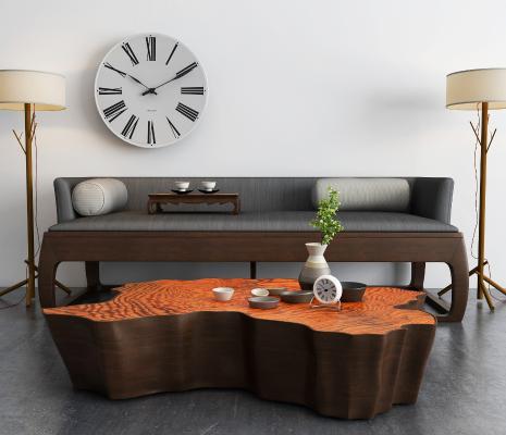 新中式沙發3D模型【ID:631303720】