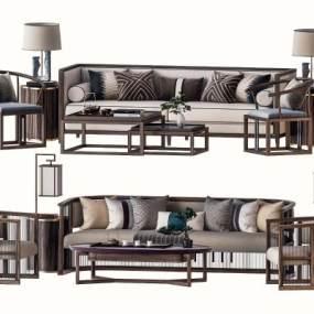 中式沙发茶几组合3D模型【ID:645532711】