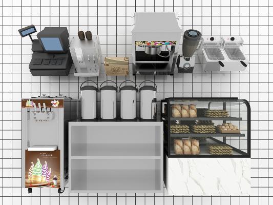 現代吧臺收銀冰淇淋機3D模型【ID:230939840】