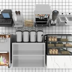 现代吧台收银冰淇淋机3D模型【ID:230939840】