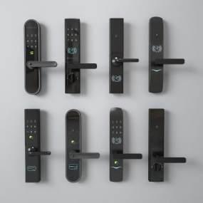 現代智能鎖門把手3D模型【ID:347044364】