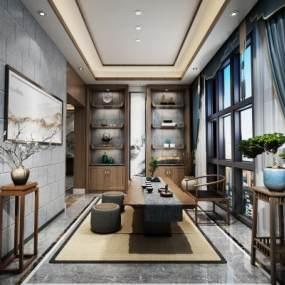 新中式茶室空间3D模型【ID:636244132】
