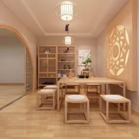 新中式茶室3D模型【ID:653939881】