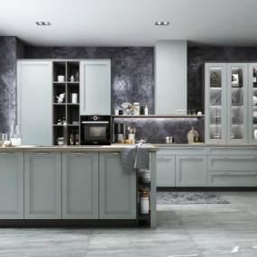 现代风格开放式厨房3D模型【ID:553925317】