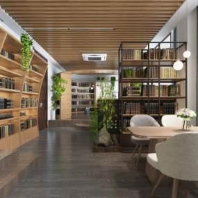 現代圖書館3D模型【ID:946578871】