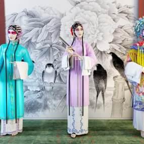 传统中式舞台人物3D模型【ID:334749064】