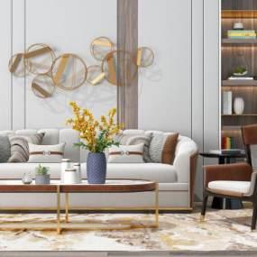 现代沙发茶几组合3D模型【ID:645934721】