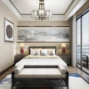 新中式卧室3D模型【ID:534701223】