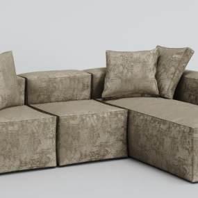 现代绒布沙发3D模型【ID:634854742】