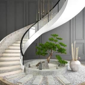 现代旋转楼梯树竹子摆件组合3D模型【ID:338294543】