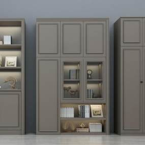 现代装饰柜书柜酒柜组合3D模型【ID:133486177】