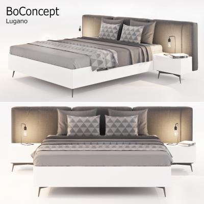 現代布藝雙人床床頭柜組合國外3D模型【ID:834352712】