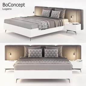 现代布艺双人床床头柜组合】