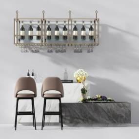 现代吧台吧椅 3D模型【ID:942100266】