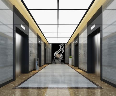 现代简约电梯间 垃圾桶 绿植