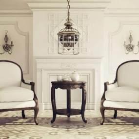 美式沙发椅3D模型【ID:731305006】