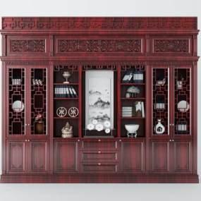 中式红木家具书柜3D模型【ID:144236547】