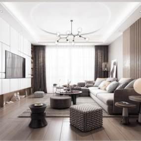 现代轻奢沙发茶几组合3D模型【ID:533807015】
