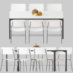 现代餐桌椅组合3D模型【ID:835755830】