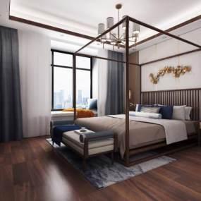 新中式主卧室 3D模型【ID:541425231】