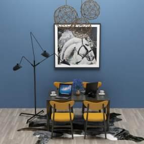 工业风餐桌椅3D模型【ID:832928835】