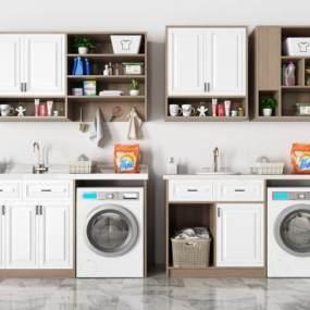 现代洗衣机摆件组合3D模型【ID:236080684】