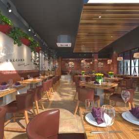 现代西餐厅3D模型【ID:648654224】