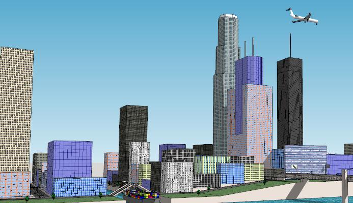 現代城市建筑簡模規劃SU模型【ID:351690214】