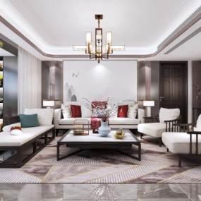 新中式客厅3D模型【ID:545892099】