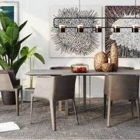 現代餐桌椅組合3D模型【ID:844049874】