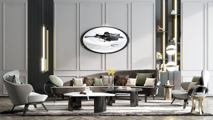 现代沙发组合3D模型【ID:649101715】