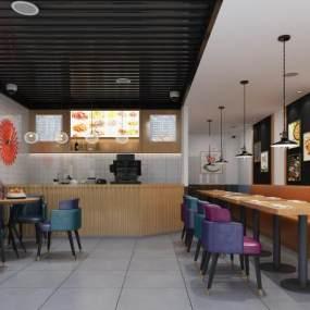 现代休闲餐厅3D模型【ID:643479248】