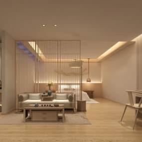 新中式民宿客房3D模型【ID:750836391】