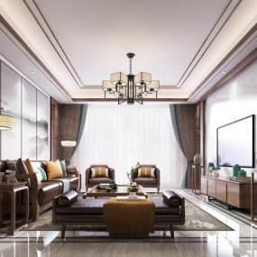 新中式客厅3D模型【ID:537155099】