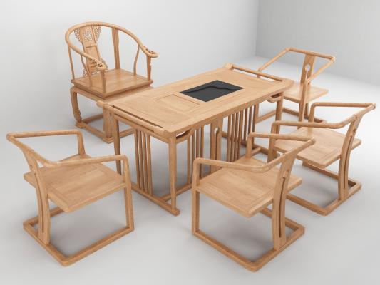 新中式茶臺茶椅3D模型【ID:735237763】