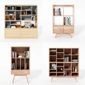 现代书柜3D模型【ID:151162536】