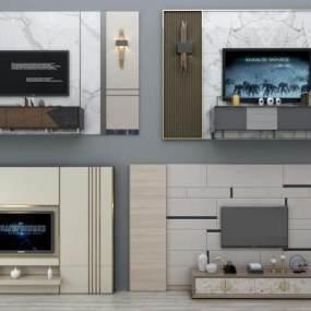 現代電視背景墻電視柜組合3D模型【ID:230499764】