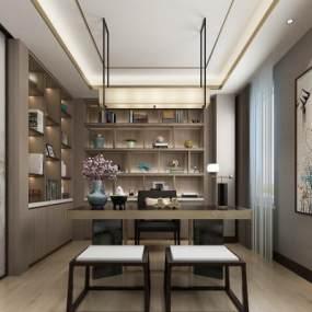 新中式书房3D模型【ID:553856496】