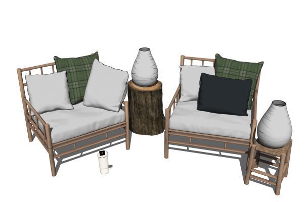 现代户外单人沙发SU模型【ID:153907331】