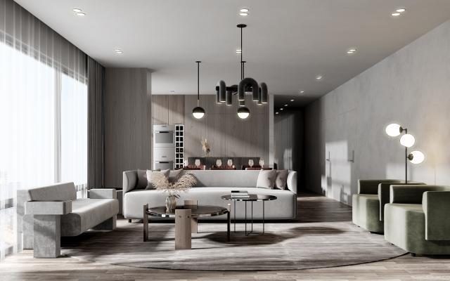 现代客餐厅 沙发 茶几 凳子 落地灯 吊灯
