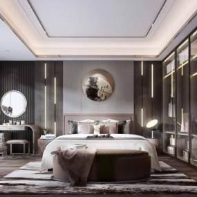 新中式卧室3D模型【ID:546542043】