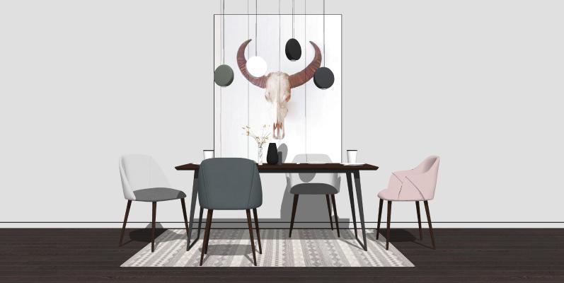 现代简约北欧餐桌椅组合SU模型【ID:947085414】