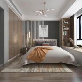 现代卧室3D模型【ID:544694204】