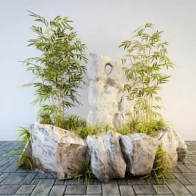 新中式假山石头竹子景观小品3D模型【ID:134850464】