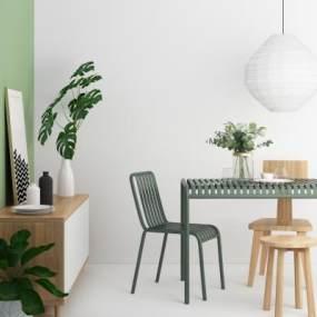 北欧餐桌椅组合3D模型【ID:745638173】
