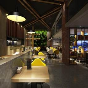 工业风豆浆餐厅3D模型【ID:632950219】