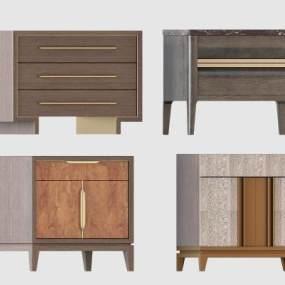 新中式床头柜组合 3D模型【ID:841480945】