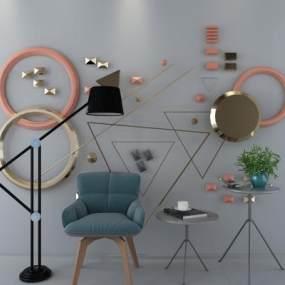 现代墙饰椅子3D模型【ID:733222030】