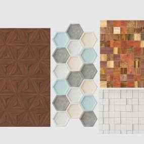 现代墙体瓷砖组合3D模型【ID:335759478】