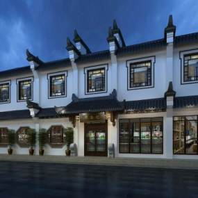 中式餐厅酒店门头3D模型【ID:243556427】